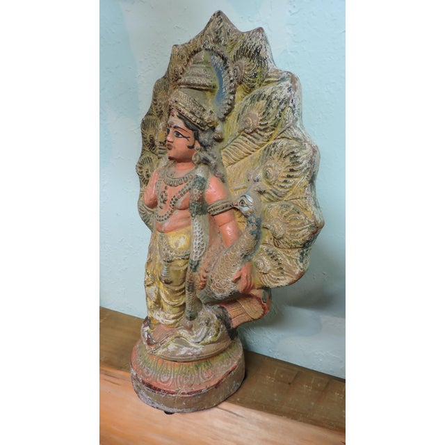 Anonymous Old Terra Cotta Hindu Goddess Figure With Peacock For Sale - Image 4 of 5