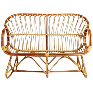"Vintage Bamboo Settee Sculpted Bamboo Loveseat Franco Albini Style -53"" For Sale"