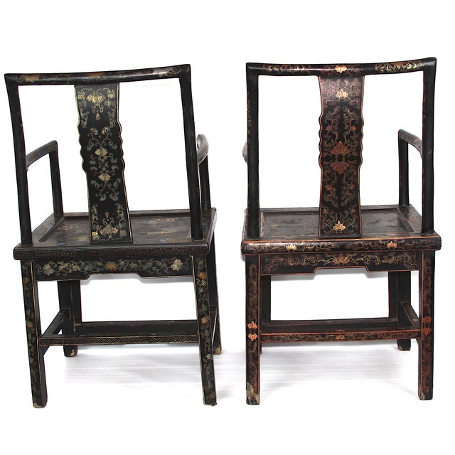 Antique Chinese Lacquered Armchairs - A Pair - Image 2 of 10