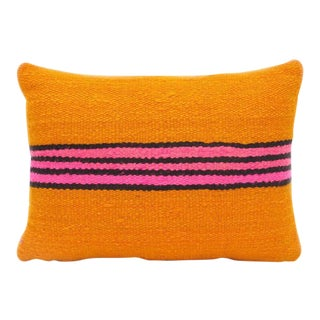 Berber Tribes of Morocco Orange Striped Wool Throw Pillow