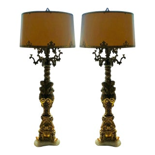 Pair of Rare Antique French Nude Figural Candelabra Floor Lamps For Sale