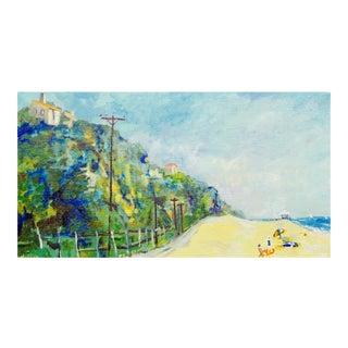 """Summertime at Malibu, Zuma Beach California"" Contemporary Landscape Oil Painting For Sale"