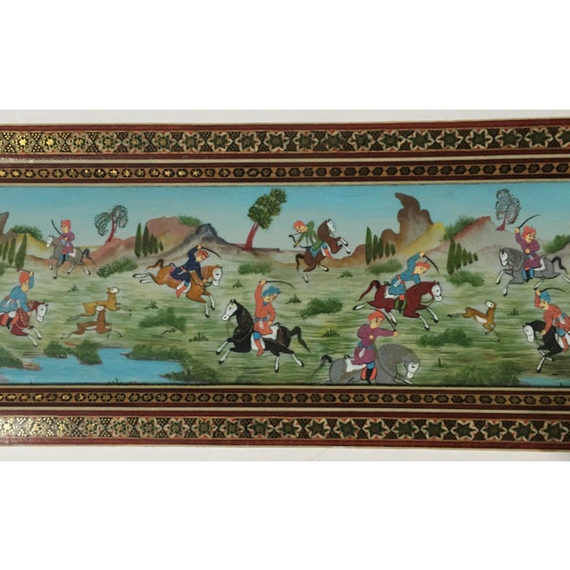 Vintage Persian Painting of Battle Scene in Marquetry Frame For Sale - Image 4 of 5