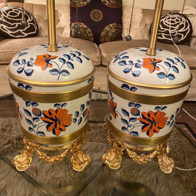 French Antique Sevres Porcelain & Ormolu Marbro Lamps -a Pair For Sale - Image 3 of 13