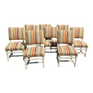 Set of 8 English Barley Twist Dining Chairs For Sale