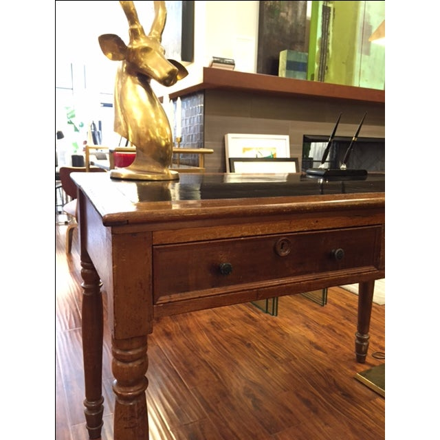 Antique Black Leather Top Desk - Image 4 of 11 - Antique Black Leather Top Desk Chairish
