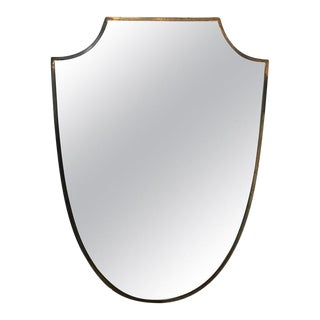 Brass Frame Italian Shield Mirror, 1950s For Sale