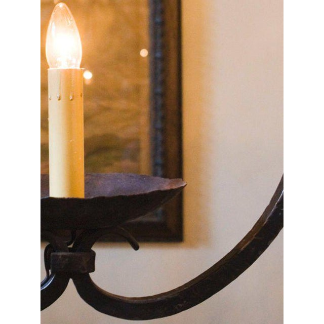 """2010s Custom """"Mahoning"""" Hand-Forged, Large Wrought-Iron Pendant For Sale - Image 5 of 11"""