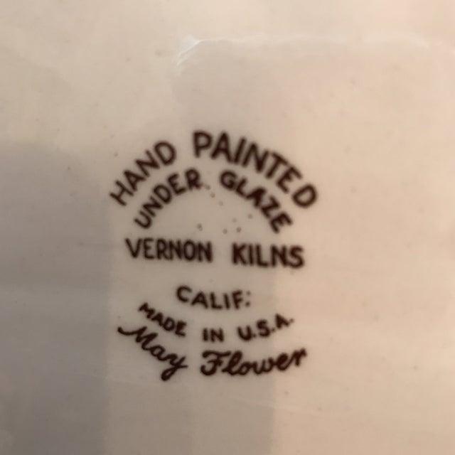 "Blue 1940s American Classical Vernon Kilns ""Mayflower"" Platter For Sale - Image 8 of 9"