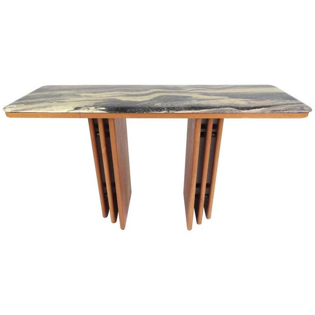 Mid-Century Teak and Marble Console Table by Bendixen Design For Sale - Image 11 of 11