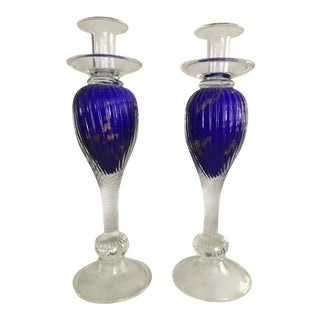 Mid 20th Century Vintage Large Murano Clear to Cobalt Candleholders - a Pair For Sale