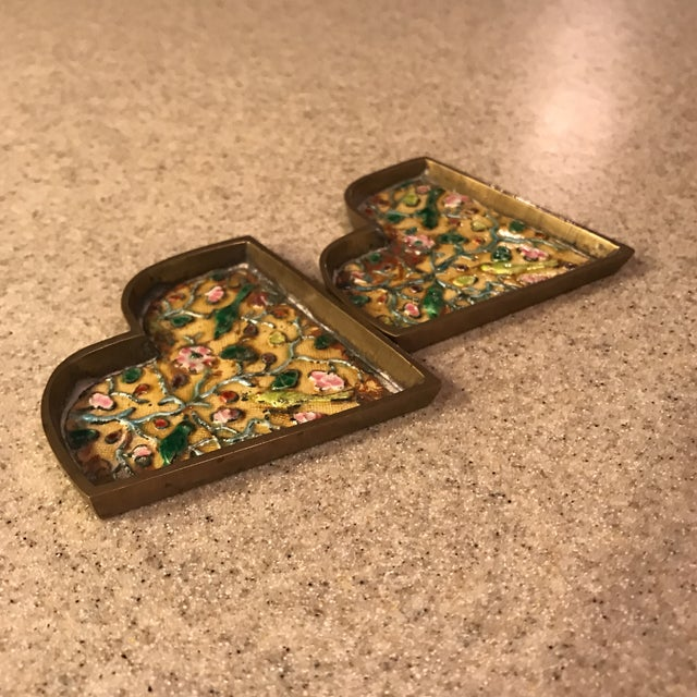 Chinese Brass Cloisonné Trinket Dishes - a Pair For Sale - Image 9 of 10