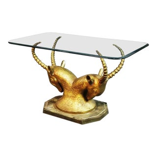 French Bronze Glass Top Ibex Center Table For Sale