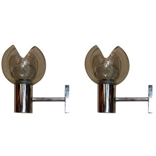 Pair of Seguso Grey Glass Sconces For Sale