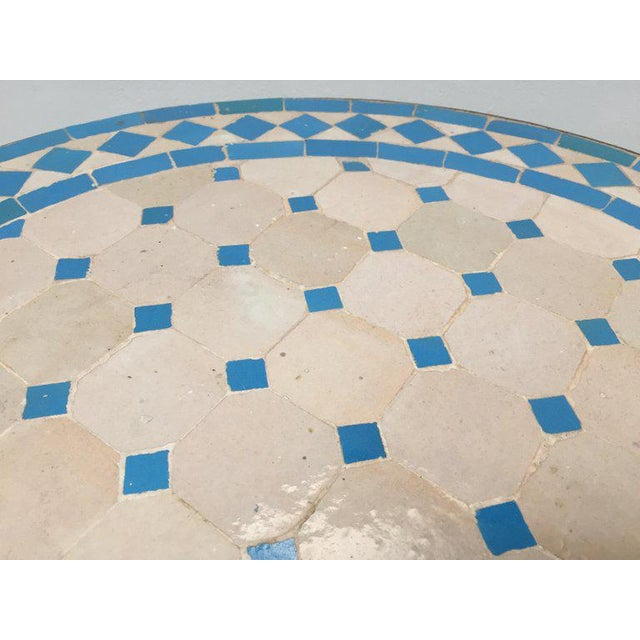 Ceramic Moroccan Mosaic Outdoor Turquoise Tile Side Table on Low Iron Base For Sale - Image 7 of 9