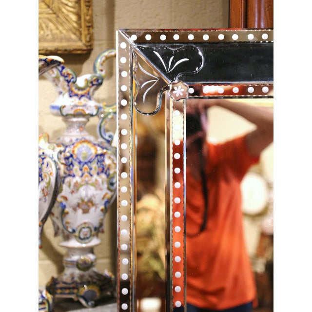 Italian Mid-20th Century Italian Overlay Venetian Mirror With Painted Floral Etching For Sale - Image 3 of 9
