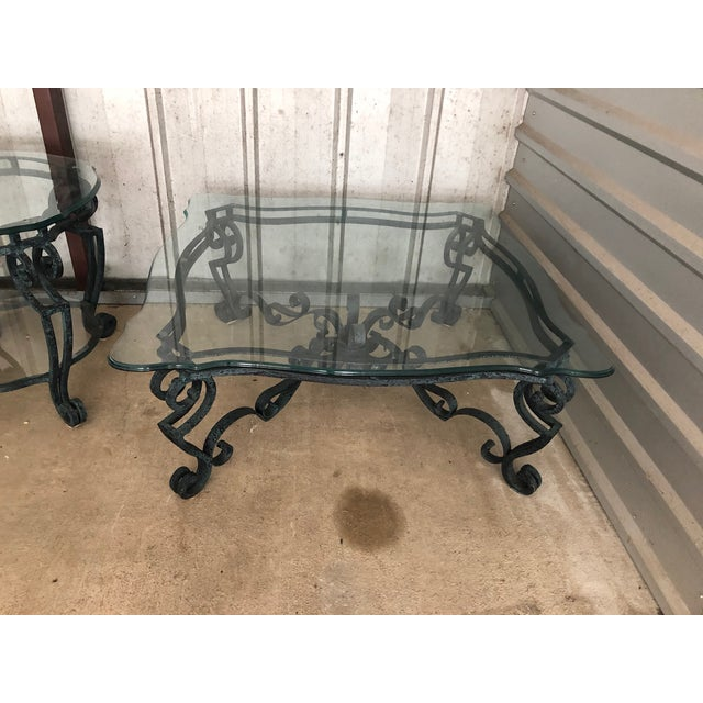 Hollywood Regency Ballard Designs Scrolled Iron Cocktail Table & Side Table For Sale - Image 3 of 13