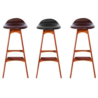 Set of Three Erik Buck Bar Stools For Sale
