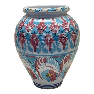 Spanish Hand Painted Ceramic Planter For Sale