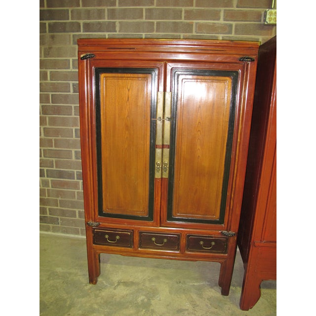 Wood Antique Chinese Elmwood Armoire For Sale - Image 7 of 7