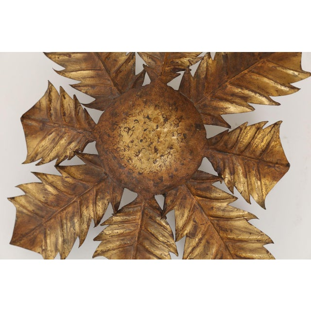 Gilt Tole Acanthus Flush Mount For Sale In Houston - Image 6 of 10