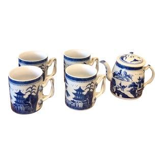 Blue & White Tea Set - Set of 6 For Sale