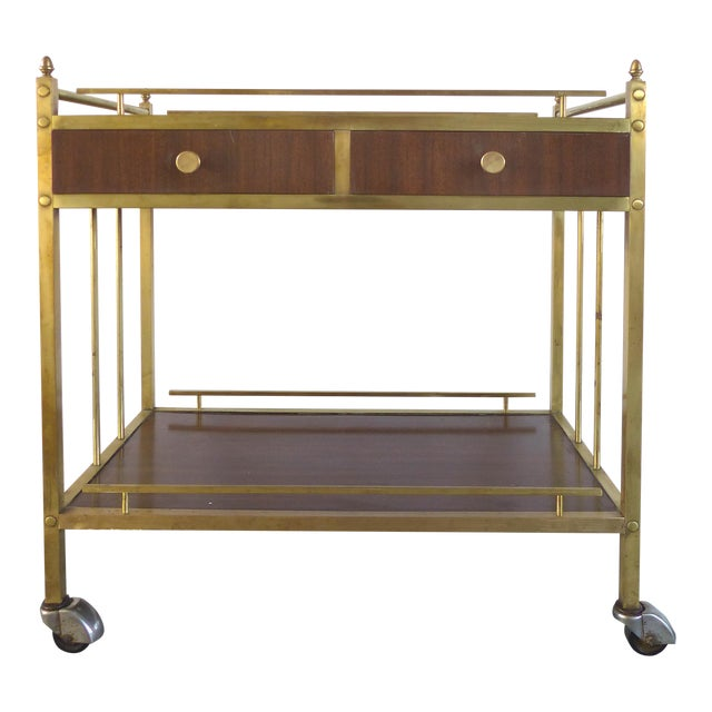 Bi-Level Brass Rolling Bar Trolley W/ Wood Accents For Sale