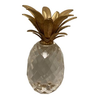 Hollywood Regency Brass and Swarovski Crystal Pineapple Paperweight For Sale