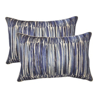 Donghia Down Feather Embroidered Designer Bolster Pillows - A Pair