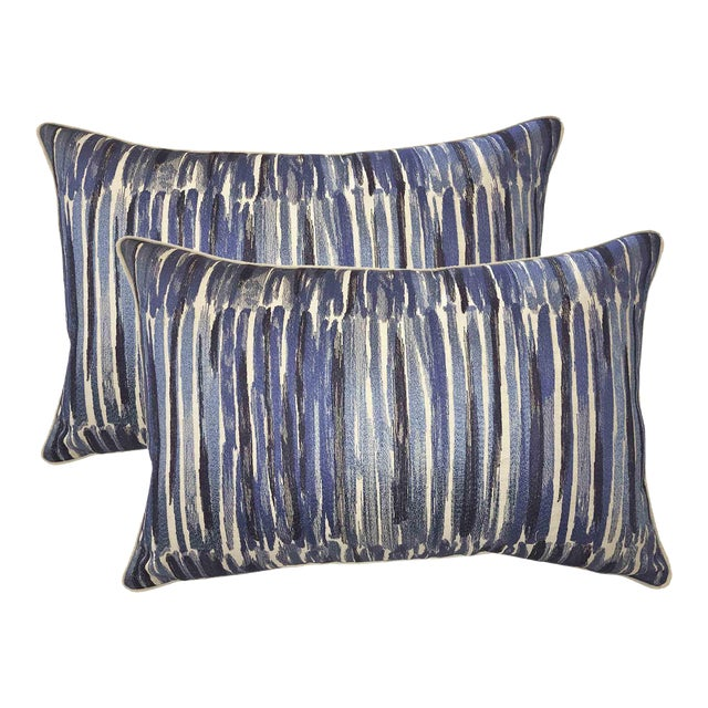 Donghia Down Feather Embroidered Designer Bolster Pillows - A Pair - Image 1 of 3