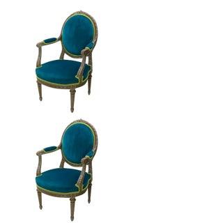 Louis XVI Style Blue Pine Velvet Armchairs- A Pair For Sale