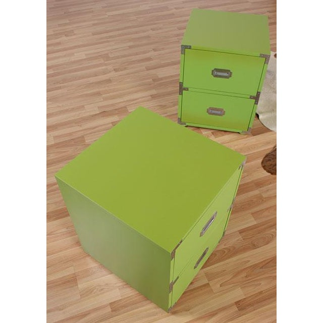 Vintage Campaign Nightstands in Lime - A Pair - Image 3 of 6