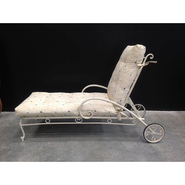 2010s Vintage French Style Wrought Iron Chaise Longue With Cushion For Sale - Image 5 of 6
