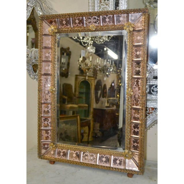 Italian Antique Pink Venetian Etched Mirror For Sale - Image 3 of 7