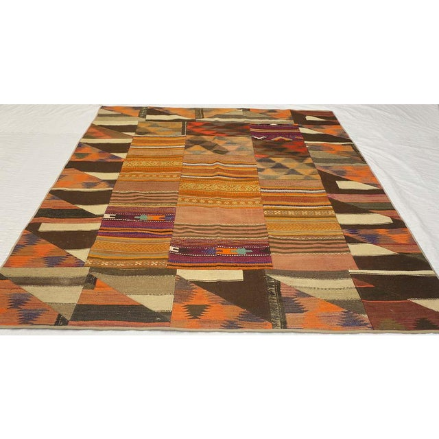"""Kilim 6'8"""" x 8'6"""" made by Hand spun wool. allover pattern with nice border."""