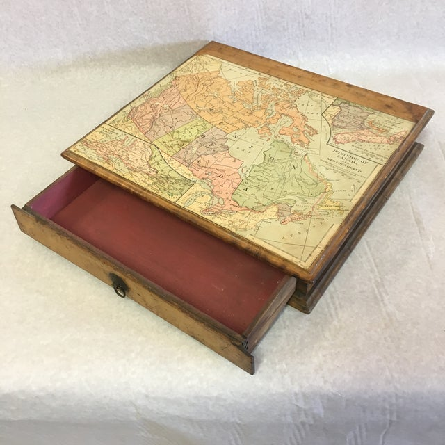 Vintage Wooden Drawer With Map For Sale - Image 9 of 9