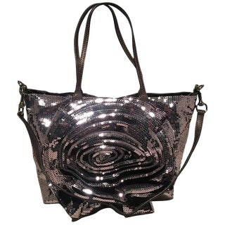 Valentino Grey Silver Sequin Petal Tote Bag For Sale