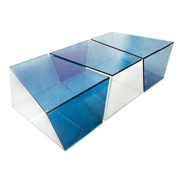 1970s Contemporary Geometric Blue and Clear Glass 3 Piece Coffee Table For Sale