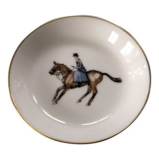 1940s Royal Worcester English Porcelain Bone China Equestrian Ring /Accent Dish For Sale