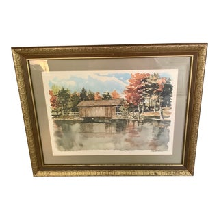 """Paul N. Norton Signed Watercolor, """"Old Covered Bridge"""" For Sale"""
