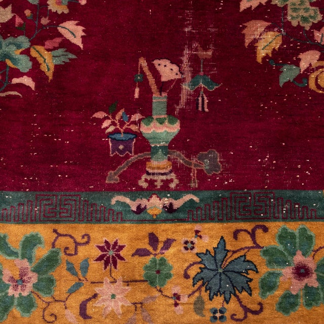 1930s Magenta Chinese Deco Carpet For Sale - Image 5 of 11