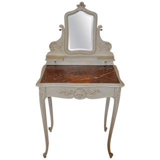 Louis XV Style Painted Vanity With Adjustable Mirror and Marble Top For Sale