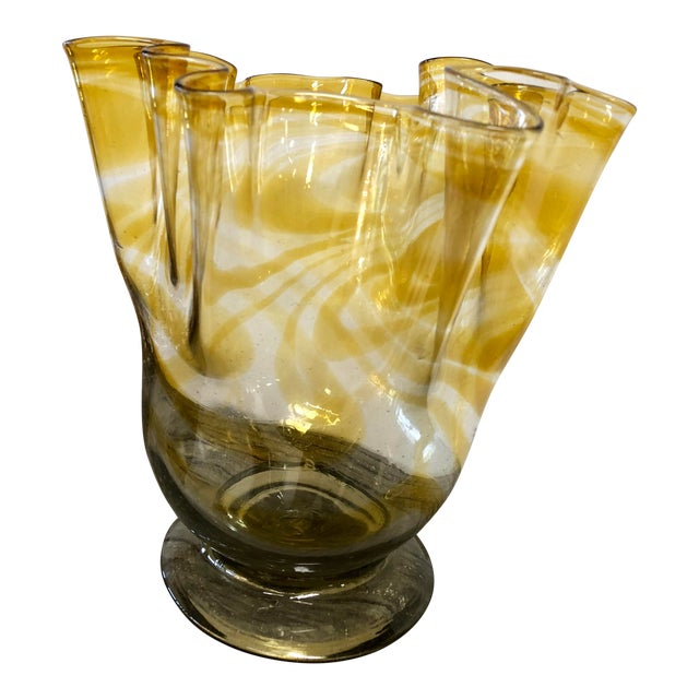 Large Hand Blown Art Glass Urn For Sale