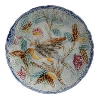"Antique Majolica Faience Bird 10"" Plate"