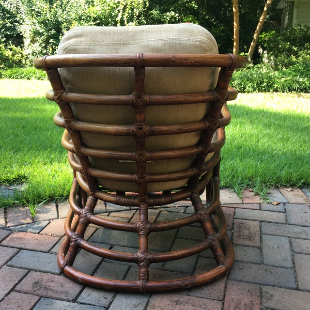 Brown Jordan 1970s Boho Chic Brown Jordan Rattan Arm Chair For Sale - Image 4 of 10