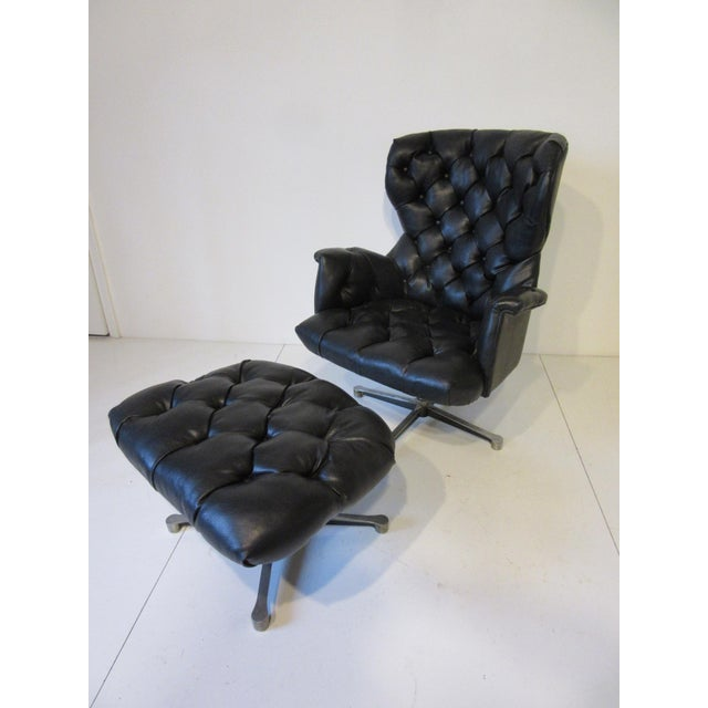 Tufted Swiveling Lounge Chair and Ottoman For Sale - Image 10 of 10
