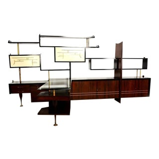 Mexican Modernist Wall Unit with Desk Attributed to Eugenio Escudero