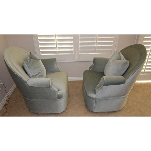 Pair of Custom Mohair Seafoam Green Lounge Club Chairs For Sale In Palm Springs - Image 6 of 13