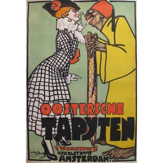 1916 Dutch Art Deco Poster, Oosterche Tapyten For Sale