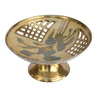 1960s Painted Brass Footed Platter Bowl, France For Sale
